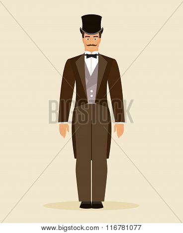 The Man Of The Nineteenth Century. Vector Illustration