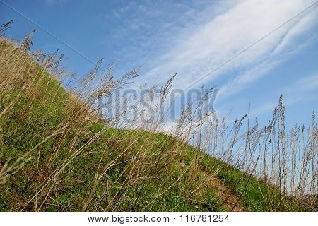 The Trail On The Hill Summer Grassy. Summer Geometry Of The Slope Of The Hill And Slope Clouds
