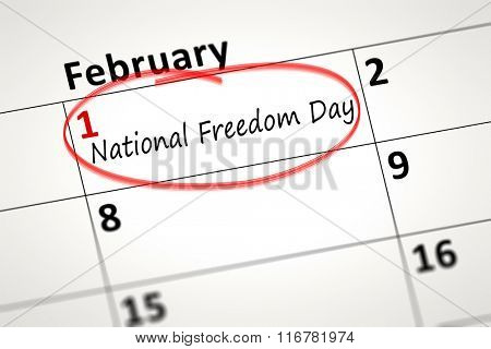calendar detail shows the National Freedom Day at first of February
