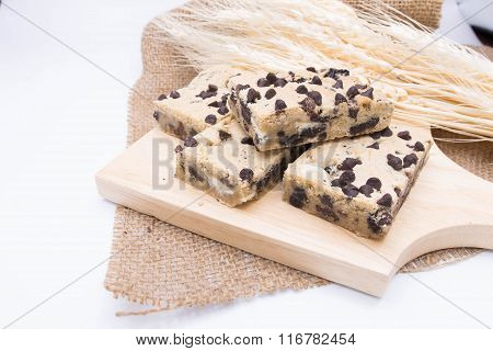 Chocolate Cookie Bar On  Blur Barley Background
