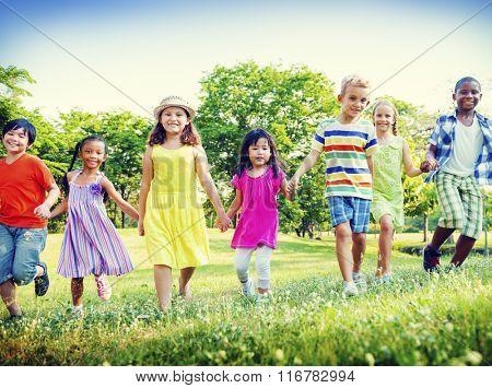 Children Park Friends Friendliness Happiness Playful Concept