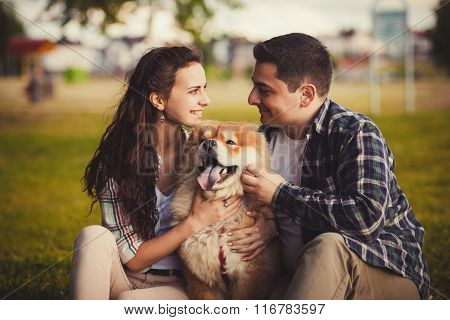 Loving Couple And Dog