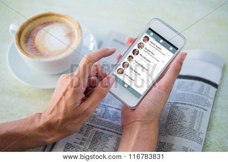 Smartphone app menu against man using mobile phone by coffee and newspaper in cafe