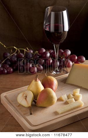 Pears, Cheese and Wine with Grapes