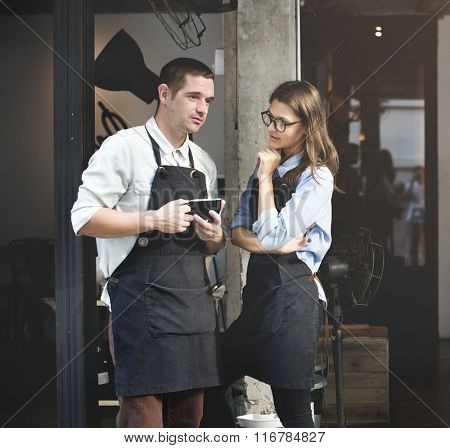 Barista Coffee Shop Waiter Waitress Couple Apron Concept