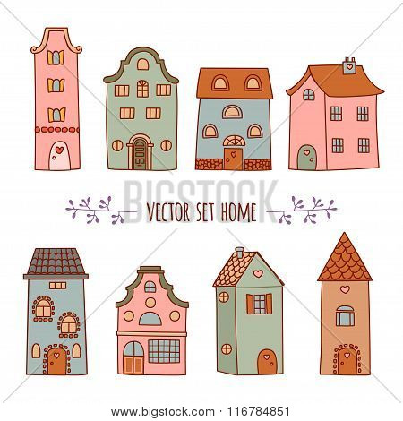 Set Of The Bright, Hand Drawn Illustration Of Houses. Vector Set