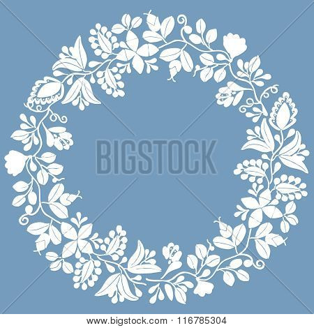 Wreath white vector frame isolated on blue background