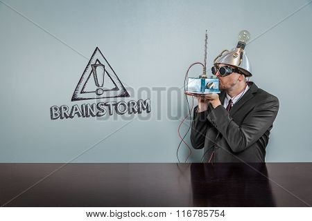 Brainstorm text with vintage businessman