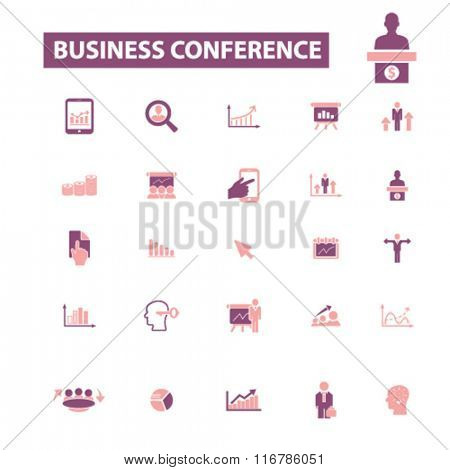 business conference, meeting, community, human resources, management icons, signs vector concept set for infographics, mobile, website, application