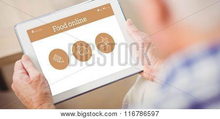 Food app against senior man using tablet