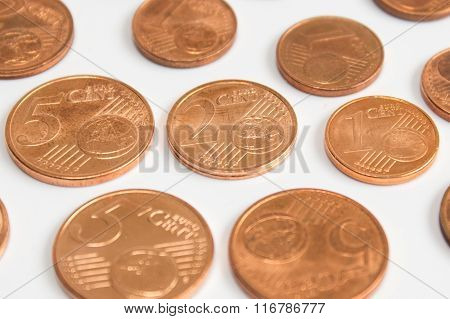 Euro Cent Coins, Pile Of Euro Cent Coins