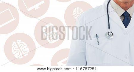 Doctor wearing lab coat against medical app