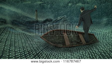 Businessman balancing in boat against stormy sea with lighthouse