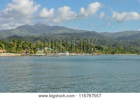 Beautiful tropical coast of the Caribbean sea by the little town of Omoa in Honduras