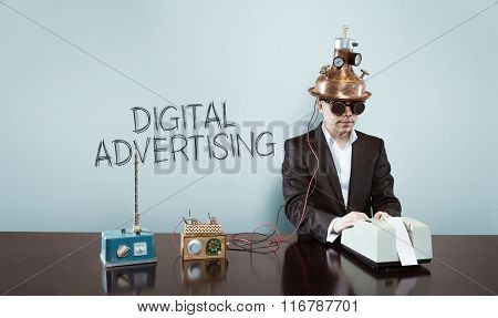 Digital advertising concept with vintage businessman and calculator