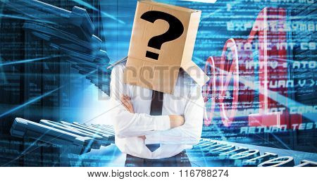 Anonymous businessman with arms crossed against abstract blue text