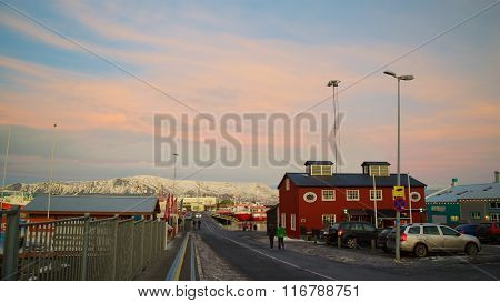Reykjavik, Iceland - January 18, 2016: Tourists Visiting the Old Harbor in Reykjavik