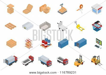 Isometric warehouse and logistics object set