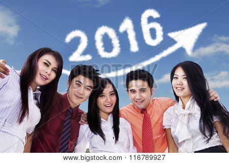 Happy Young Workers Under Number 2016