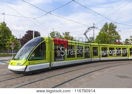 Modern Tram On A Street Of Strasbourg, France