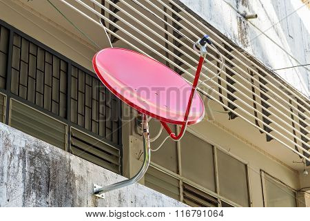 Satellite Dish Antenna On The Wall