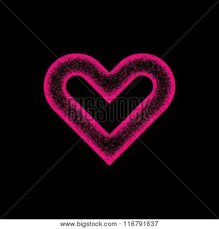 Magenta Abstract Heart Sign With Grain Texture