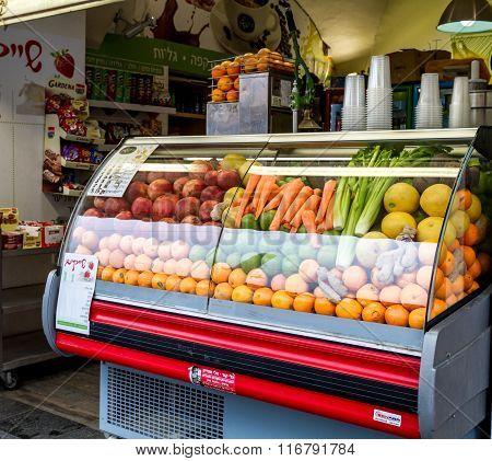Fresh Juices Shop In Jerusalem, Israel