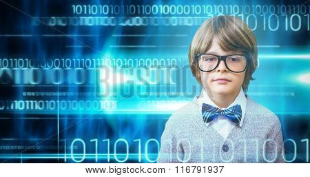 Cute pupil dressed up as teacher against blue technology design with binary code