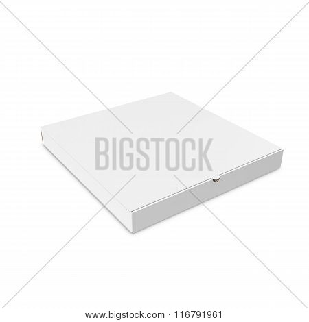 Closed white box of pizza isolated