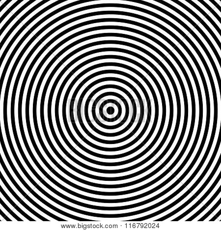 Black And White Abstract Modern Concentric Circles