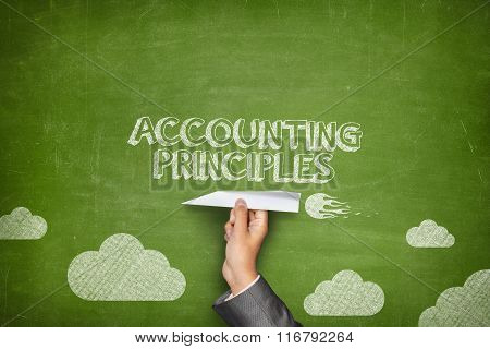 Acconting principles concept on blackboard with paper plane