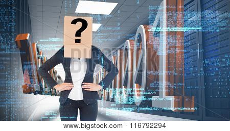 Businesswoman with box over head against 3d binary code in data center hallway