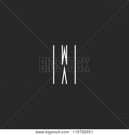 Letter W Logo Minimal Monogram Style, Creative Design Element, Graphic Style Wave Icon