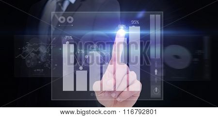 Mid section of businessman pointing something up against percentages graphical representation
