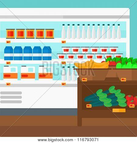 Background of supermarket shelves.