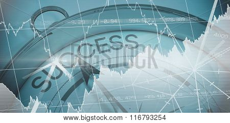 Stocks and shares against compass pointing to success