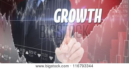 The word solution and mid section of businessman pointing something up against business interface with graphs and data