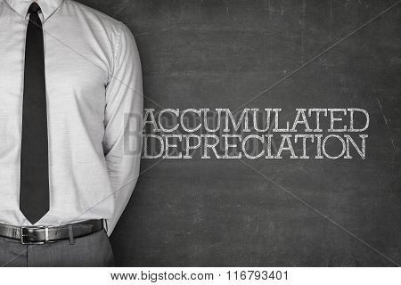 Accumulated depreciation text on blackboard