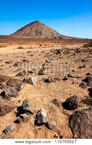 Volcanic peak on Sal Island, Cape Verde