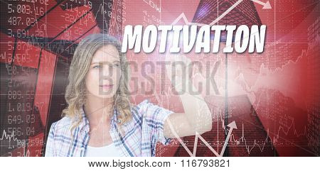The word solution and concentrated pretty hipster pointing with her finger against stocks and shares