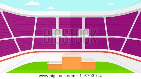 Background of stadium with podium for winners.