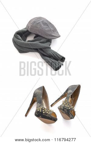 Gray cap warm scarf and camouflage high-heeled shoes with spikes
