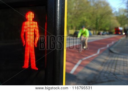 Red pedestrians sign