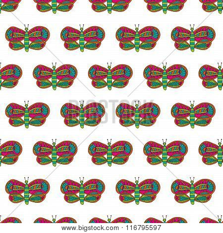Cute butterfly with colorful bright ornament seamless pattern on a white background