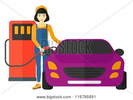 Woman filling up fuel into car.