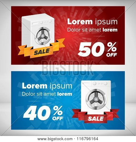 Horizontal sale banners with washing machine