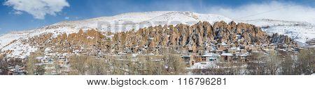 Kandovan vilage near Tabriz, Iran. Panorama view