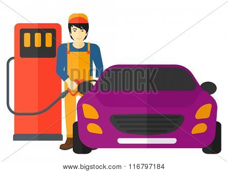 Man filling up fuel into car.