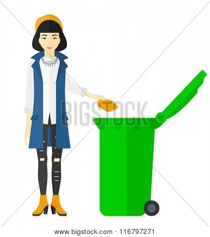Woman throwing trash.