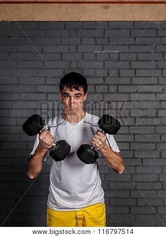 Nerd in gym